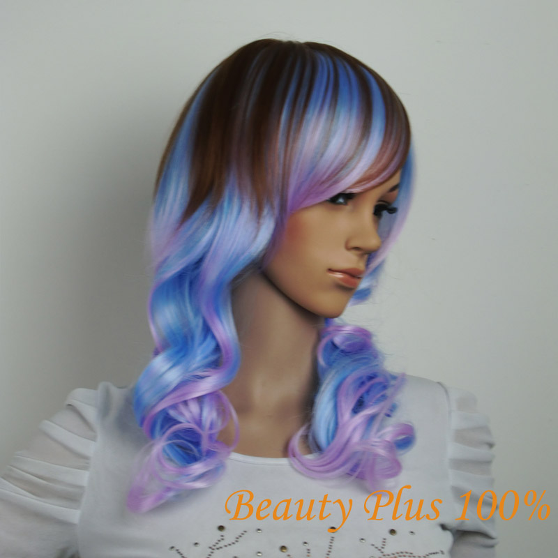 2015 New Fashion Body Wave Purple Root To Pink Blue Ombre Wig Synthetic Lace Front Wig High Quality Women Ombre Wig Cosplay<br><br>Aliexpress
