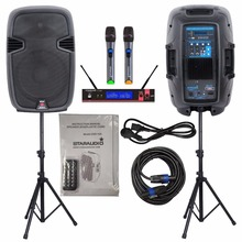 "STARAUDIO 2 Pcs 2000W 12""  PA DJ Power Active Speakers  W/Stands Cable Microphones SSD-12A"