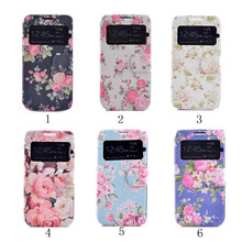 S4Mini Flower Pattern Case For Samsung Galaxy S4 Mini i9190 Flip Leather Case For Samsung S4 mini Window View Phone Bag Cover