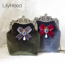 LilyHood Handmade Velvet Retro Crossbody Bag Female Vintage Victorian Baroque Stylish Bow Frame Kiss Lock Funky Shoulder Bag(China)