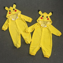 Pikachu Go Cotton Kigurumi Newborn Baby Boy Clothes Spring Infant Romper Jumpsuit Pikachu Hooded Toddler Baby Cosplay Costume
