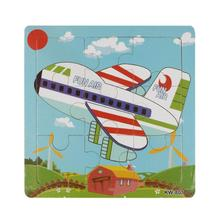 Excellent Design Wooden Airpalne Aircraft Jigsaw Toys For Children Education Learning Puzzles Kids Toys Wood Puzzles Toy(China)