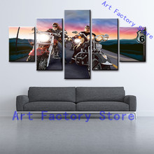 5 Panel Men Motor Harley Davidson Motorcycles HD Print Modern Painting House Canvas Wall Decor On Canvas Fine Art(China)