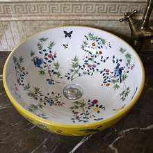 Porcelain China Classic Painting Art Birds&Flowers White Countertop Ceramic Bathroom Sink chinese porcelain wash basin