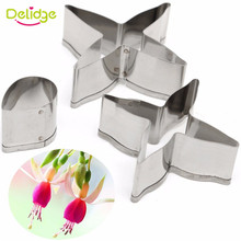 Delidge 3pcs/set Stainless Steel Fuchsia Flower Cookie Cutter Candy Biscuit Jelly Chocolate Fondant Wedding Cake Baking Tool(China)