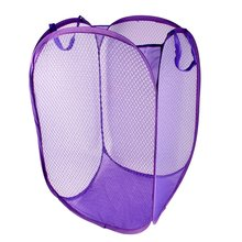 Laundry Bag Basket Pop Up Hamper Foldable Clothes Storage Bin Purple(China)