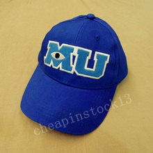 2016 New Brand Pixar Movie Monsters University Sulley Mike MU Letters Baseball Blue Hat Baseball Caps One Piece Vestidos