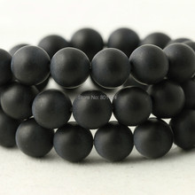 1string 74-904 4mm/6mm/8mm/10mm/12mm  round black Dull Polish Matte Onyx Agate Stone beads  for jewelry making