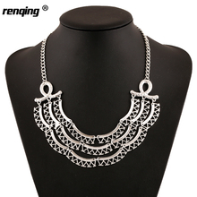 Women Metal Geometrical Irregular Bending Bid Choker Necklace Silver Color Festival Turkish Ethnic Chunky Pendants Necklace