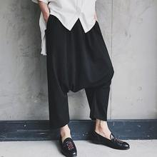 Spring and summer men's Korean version of the simple large crotch wide leg hanging crotch pants large size black trousers/ 27-40