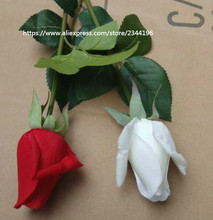 artificial real touch roses big budded rose with custom length stem wedding decoration floral arrangement white red(China)