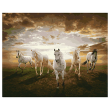 Practical Digital DIY Oil Painting By Number Kits On Linen Animal Painting Home Decor Horses running