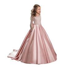 2017 Ball Gown Flower Girl Dresses Full Sleeves Satin Beading First Communion Dress Graduation Gowns Children ZHP1321
