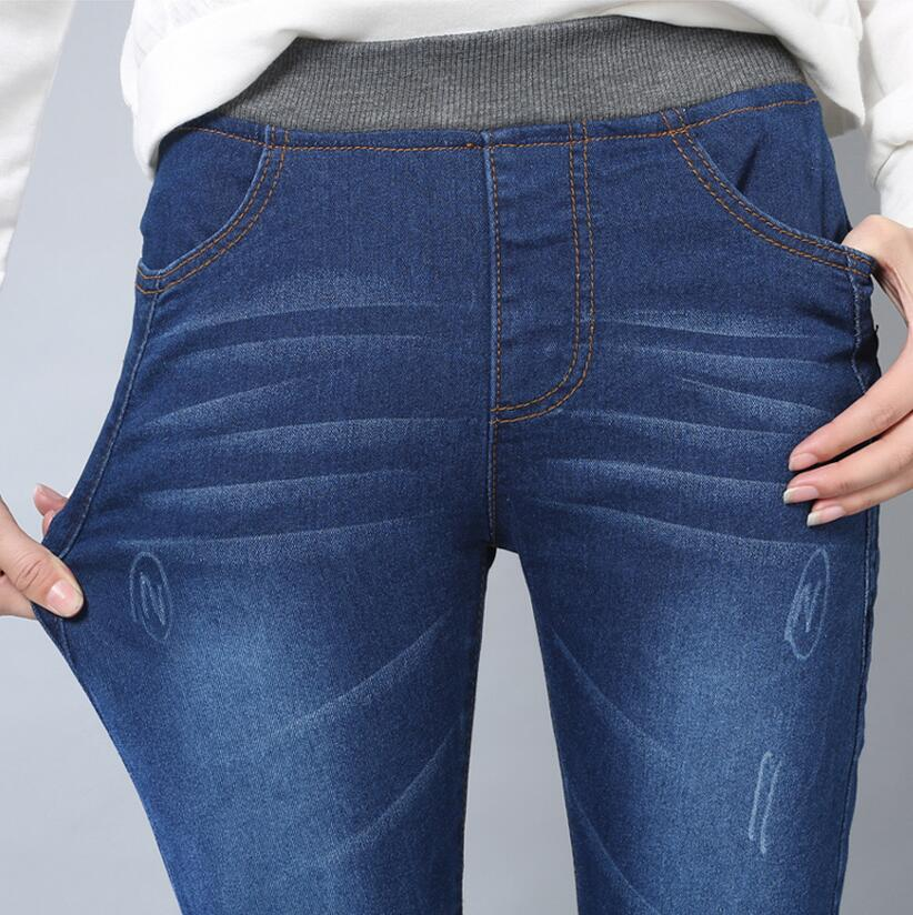 2017 Autumn New Women Slim Stretch Jeans Trousers Plus Size Elastic Waist Sexy Fashion Scratched Denim Pants XXXXXLОдежда и ак�е��уары<br><br><br>Aliexpress