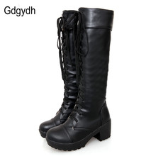 Gdgydh Large Size 43 Lace Up Knee High Boots Women Autumn Soft Leather Fashion White Square Heel Woman Shoes Winter Hot Sale(China)