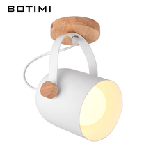 BOTIMI Wooden Adjustable Ceiling Lights White Metal Corridor Light Kitchen Wood Lighting Fixtures Small Surface Indoor Lamps