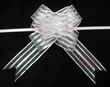 Wholesale Promotion 100pcs/lot 3cm x 50cm White Organza Butterfly Pull Bow Wedding & Christmas Deco Gift Wrapping Ribbons