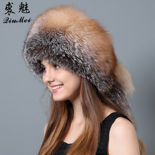 QiuMei Fox Fur Bomber Winter Hats Full Pelt Real Rex Rabbit Fur Top With Natural Tails Hat Genuine Fur Bomber Women Hats Russian(China)