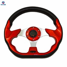 waase 320mm Universal PU Leather Racing Sports Auto Car Steering Wheel with Horn Button 12.5 inches Red(China)