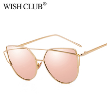 WISH CLUB Fashion Cat Eye Sunglasses Women Mirror Barbie Pink Ladies Sunglasses Male Metal Sun Glasses oculos de sol gafas