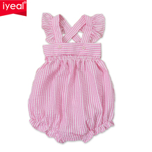 Summer Baby Girl Romper Infant New Born Baby Clothes Pink Striped Cotton Suspenders Sleeveless Rompers Suits Coverall Costumes