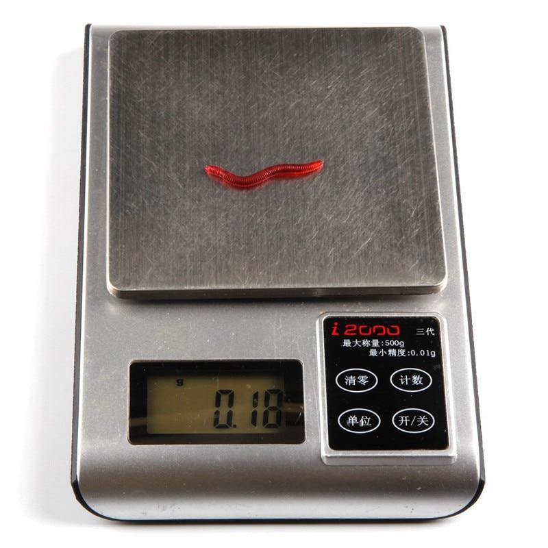 100pcslot 4cm Dark Red Fishing Lure Soft Maggot Earthworm Plastic Artficial Bait Bionic Worm Fishy Smell for Fishing Pesca