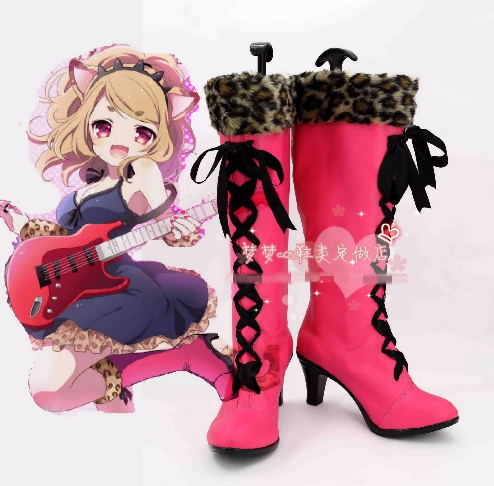 Free Shipping SHOW BY ROCK!! SB69 Cyan Cosplay Shoes Halloween Pink High Boots Custom-made