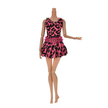 New Arrival 11cm Summer Leopard Print Doll Dress For Barbie Handmade Mini Tanks Dress For Barbie Doll Clothing 1PCS(China)