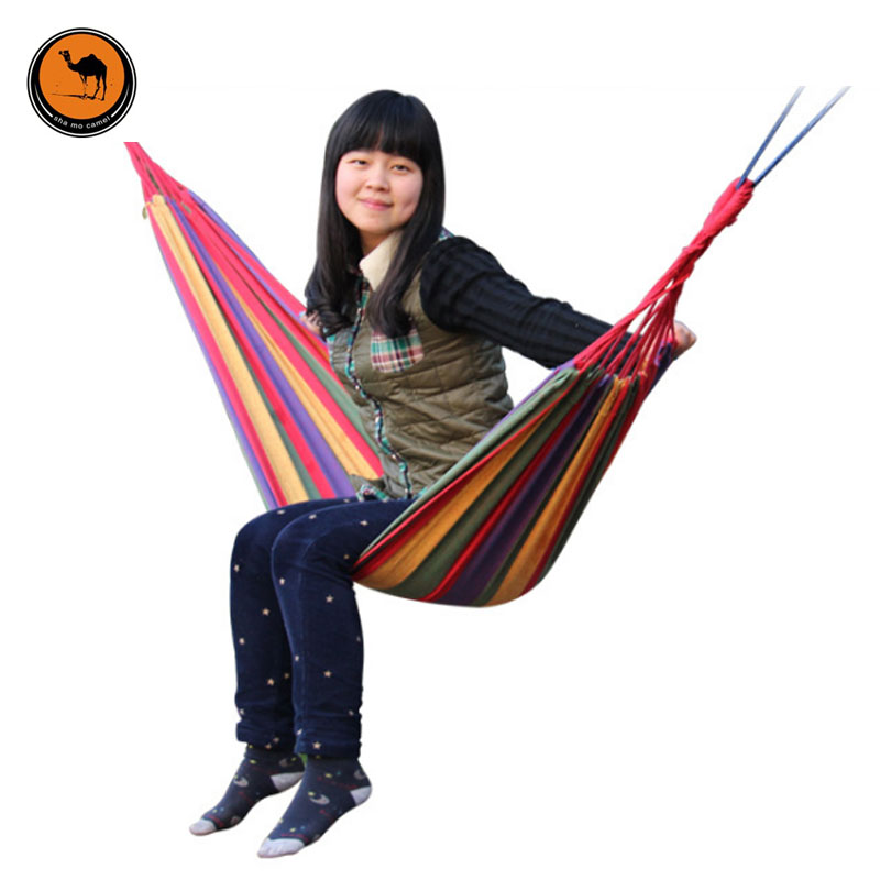 Portable Hammock Camping Backpacking Hiking Woven Cotton Fabric Rainbow Striped 200*80cm<br>