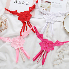 Buy Sexy Transparent Lace Embroidery Hollow Open Crotch Panties Women Pearl Hot Erotic Crotchless Sex Wear G-string Thong Underwear