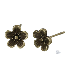 Doreen Box Earring Ear Post Stud Earrings Plum Blossom Flower Antique Bronze W/ Stoppers 8mm x 8mm,2 PCs 2017 new