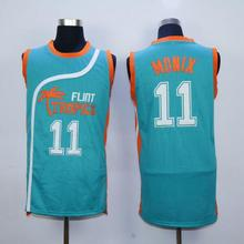 #11 ED Monix Jersey Flint Tropics Semi Pro Movie Embroidered Blue Mens Basketball Jersey