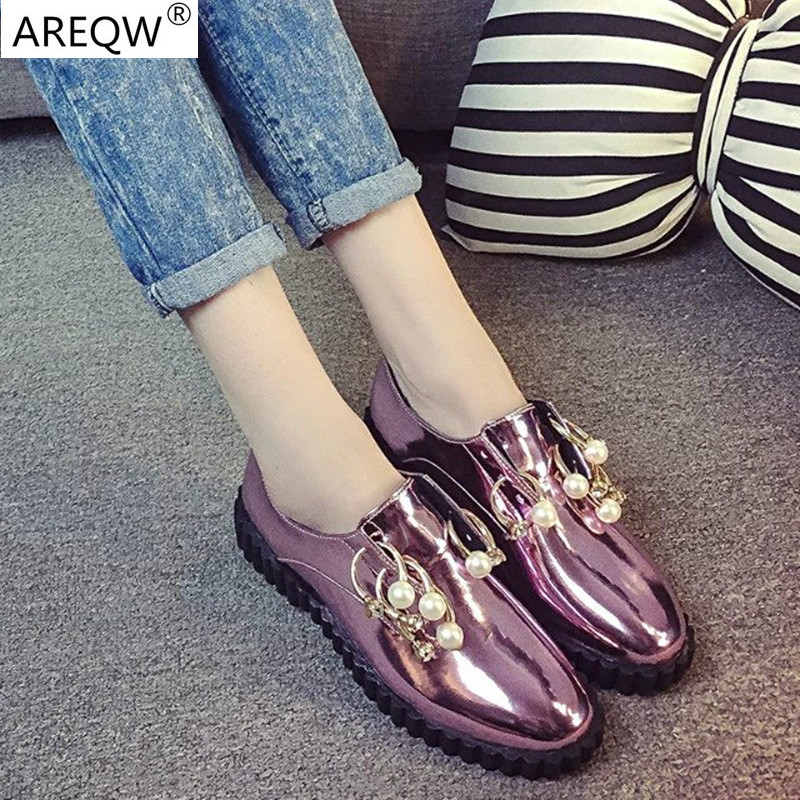 Shoes Woman Party Queen British Style Paint Round Toe Slip Women Shoes Laser sequined shoes stylish elegant pearl decoration<br><br>Aliexpress