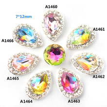 wholesale Nail rhinestone alloy Holiday Party Popular High-grade style Droplet shape Diamond hemming Colorful Bridal nail art(China)