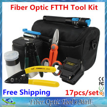 Fiber Optical FTTH Tool Kit with SKL-6C Precision Fiber Cleaver 1MW Visual Fault Locator Cable Stripper CFS-2 Kevlar Scissors