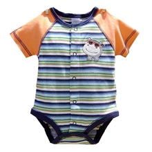 Summer 2017 Cute Hippo Newborn Baby Boy Clothes Stripes Baby Rompers Short Sleeve Jumpsuit Macacao Bebe Menino Infant Clothing(China)