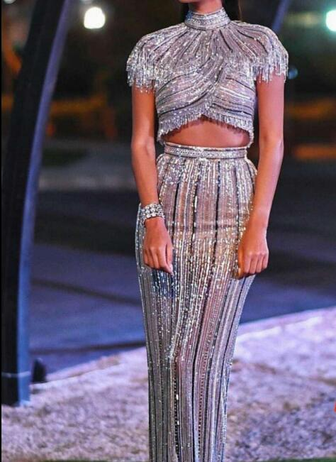 2019 New Arruval Sequin Tassel Short Suits Dress Celebrity Sexy Bodycon Night Club Vintage Fashion Long Dress