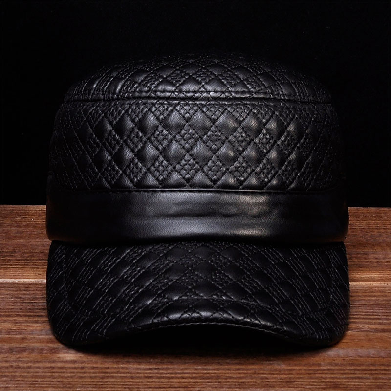HL080 Men brand new spring real leather caps hats Mens genuine leather baseball caps<br>