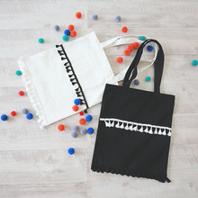 Laced up Cotton Canvas Shopping Tote Carrying Bag Black White Tassel ZT111