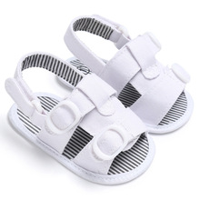 2017 Summer Peep Toe Black & White Striped Baby Sandals Double Hook & Loop Soft Sole Infant Toddler Baby Shoes