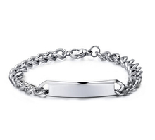 Custom Engraved Stainless Steel Silver Link Chain Bracelet with Blank ID Tag 215mm Length