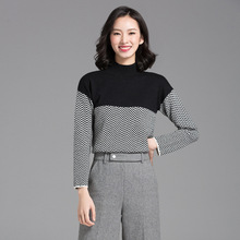 Fashion Women Knitted Sweater Turtleneck Argyle Sweaters and Pullovers Rabbit Wool Blend Pullover for Lady Jumper Femme Clothes(China)