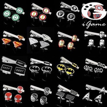 Free Shipping Tie Clips & Cufflinks Set Superheroes Designs Quality Brass Material(1 Set=1 pair cufflinks+1pc tie clip)