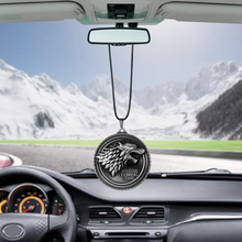 For Game of Thrones House Stark Winter Is Coming Car Rear View Mirror Car Pendant Car Styling Accessories Automobiles Decoration(China)