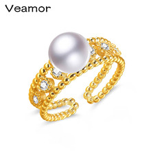 VEAMOR High Quality Original 18K Yellow Gold Color Finger Ring Authentic Luxury Jewelry For Women Wedding Jewelry Accessories(China)