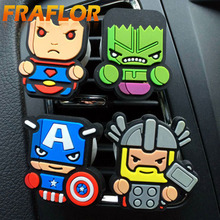 Fresh Cute Avengers Car Freshener perfume Conditioning vent Perfum Car Parfume air freshener With 2 Solid Perfume Fragrance