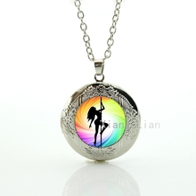 2016 new creative design charming colorful pole dancing sexy girls stripper art plated silver pendant locket necklace gift DC030(China)