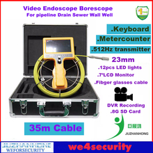 Drain Sewer Pipe Inspection Survey Camera with 512Hz Pipe Locator Sonde Keyboard DVR Color LCD Meter-Counter 35M Cable