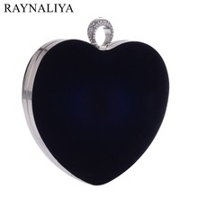 Heart Shaped Diamonds Women Minaudiere Red Black Chain Shoulder Purse Day Clutches Evening Bags For Party Wedding Smyxst-f0034