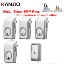 US/Eugo digital signal bell w/ 1 emitter+4 receivers wireless doorbell Waterproof 380 Meter door chime 48 melodies door ring